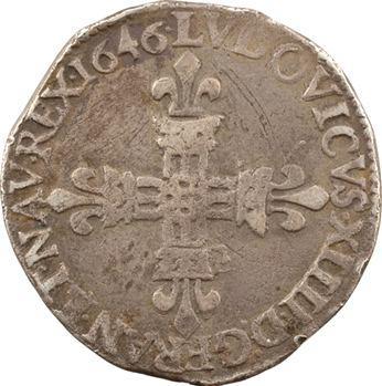 Louis XIV, quart d'écu, croix de face, 1646 Bordeaux