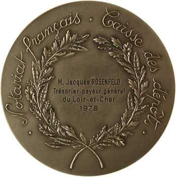 Ve République, Caisse des dépôts du Notariat Français, en argent, par Santucci, 1978 Paris