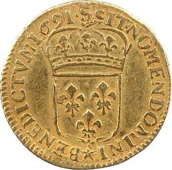 Louis XIV, demi-louis d'or à l'écu, 1691 Troyes
