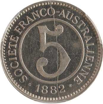 Nouvelle-Calédonie, Digeon and Co, 5 francs, ville de Gomen, 1882, PCGS SP64