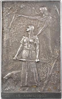 Daniel-Dupuis (J.-B.) : Jeanne d'Arc, libératrice du territoire, plaque, s.d. (1900) Paris