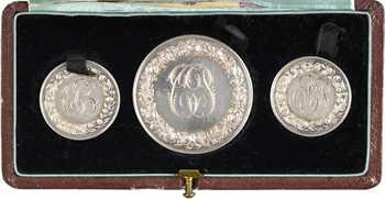 IIIe République, coffret de 3 médailles de mariage, par Depaulis, 1892 Paris