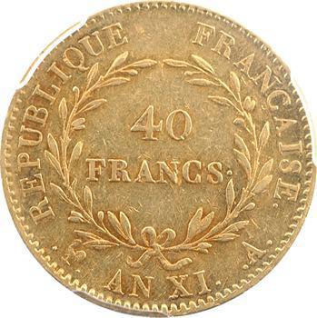 Consulat, 40 francs, An XI Paris, PCGS AU53