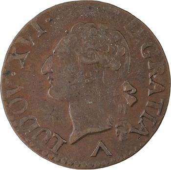 Louis XVI, liard de bronze, 1782 Lille