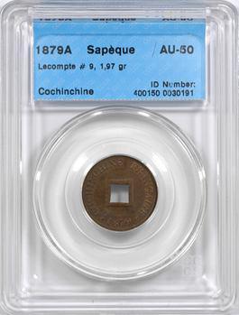Cochinchine, Tu-Duc Thong-Bao, sapèque, coque CCCS AU50, 1879 Paris