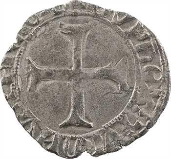 Charles VII, double tournois aux lis accotés, Troyes