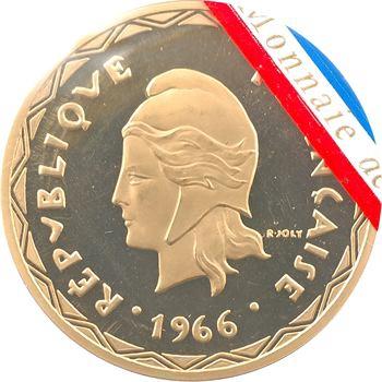 Nouvelles Hébrides, piéfort de 100 francs en or, 1966 Paris