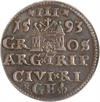 Pologne (royaume de), Sigismond III, 3 gros, 1593 Riga