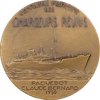 IVe République, Compagnie Maritime des Chargeurs Réunis, le paquebot Claude Bernard, par Fraisse, 1950 Paris