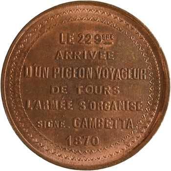 Gvt de Défense nationale, dix centimes arrivée de pigeons, 22 octobre 1870