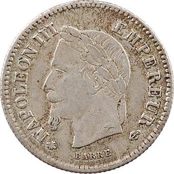 Second Empire, 20 centimes tête laurée grand module, 1867 Paris