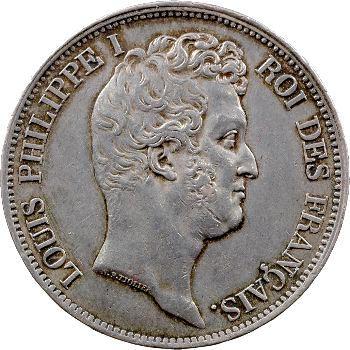 Louis-Philippe Ier, 5 francs Tiolier avec le I, tranche en relief, 1831 Rouen