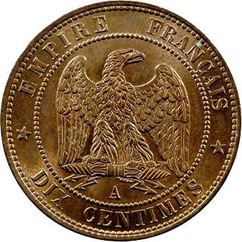 Second Empire, dix centimes tête nue, 1852 Paris