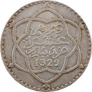 Maroc, Moulay Hafid I, 10 dirhams, AH 1329 (1911) Paris