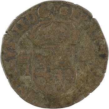 Henri III, douzain du Dauphiné aux 2 H couronnées, légende FRNA au droit, [1576-1577] Grenoble