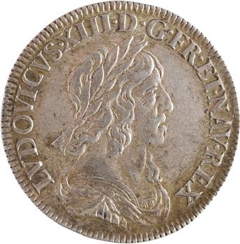 Louis XIII, quart d'écu d'argent, 3e type (2e poinçon), 1643 Paris (rose)