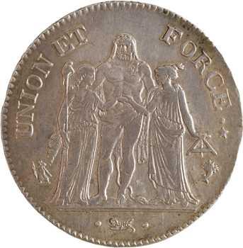 Directoire, 5 francs Union et Force, An 5 Paris