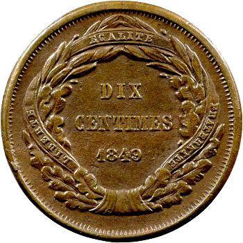 IIe République, essai de dix centimes par Malbet, 1849 Paris