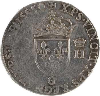 Henri II, teston à la tête nue 1er type, 1555 Poitiers
