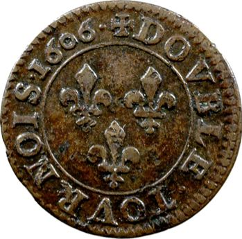 Henri IV, double tournois 1er type de Paris, 1606