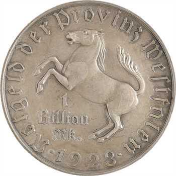Allemagne, Westphalie (province de), 1 milliard de mark, 1923