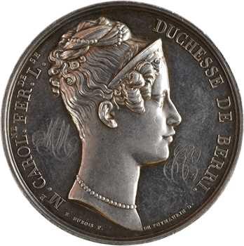 Duchesse de Berry, séjour à Dieppe, par Dubois, détournée en médaille de mariage, 1824 (1888) Paris