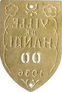 Indochine, Tonkin, Hanoï, plaque de taxe n° 00, 1936