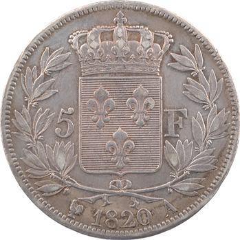 Louis XVIII, 5 francs buste nu, 1820 Paris