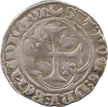Charles VII, blanc à la couronne (croissant, points 12/17), cantonnement inversé, 1re émission, Châlons-en-Champagne