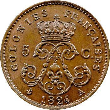 Louis XVIII, essai de 5 centimes pour les colonies, 1824 Paris