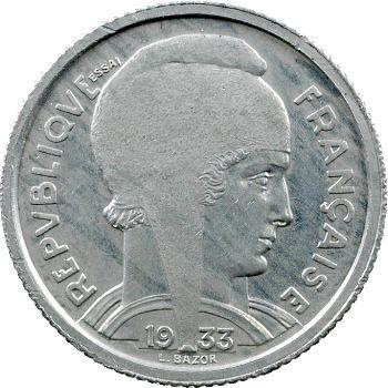 IIIe République, essai de 5 francs Bazor en étain, sur flan épais, 1933 Paris