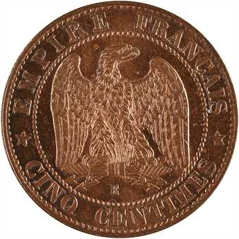 Second Empire, essai de cinq centimes tête laurée, 1861 Paris