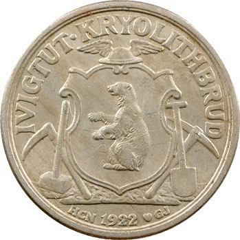 Danemark, Groenland, 10 kroner, variété snowball, 1922-1926