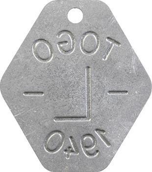 Togo, plaque de taxe, L, 1940