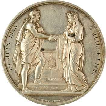 IIIe République, médaille de mariage, par Montagny, avec dates de décès des époux, 1823 (1843-1884) Paris