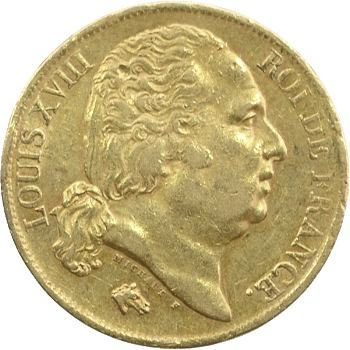 Louis XVIII, 20 francs buste nu, 1820 Perpignan