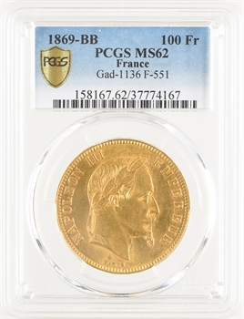 Second Empire, 100 francs tête laurée, 1869 Strasbourg, PCGS MS62