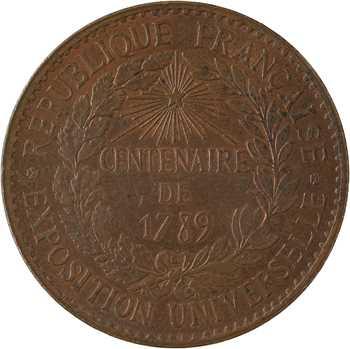 IIIe République, Centenaire de 1789, Exposition Universelle, médaille monétiforme, 1889 Paris