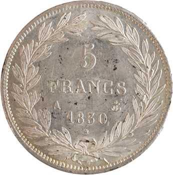 Louis-Philippe Ier, 5 francs Tiolier avec le I, tranche en relief, 1830 Paris