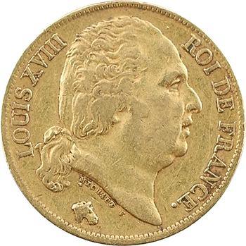 Louis XVIII, 20 francs buste nu, 1819 Lille