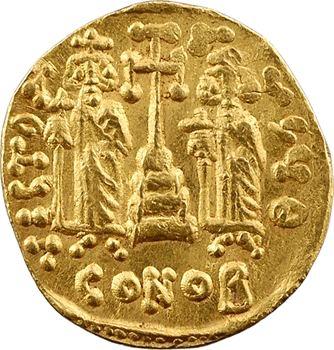 Constantin IV, avec Héraclius et Tibère, solidus, Constantinople, 9e officine, 674-681