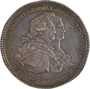 Mexique, Charles IV, érection de la statue équestre par Gil, 1796