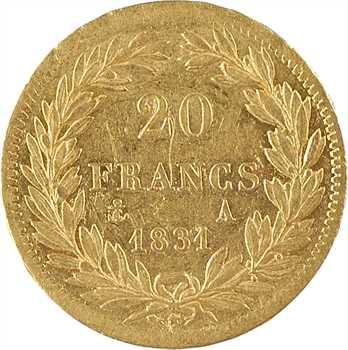 Louis-Philippe Ier, 20 francs Tiolier, tranche en relief, 1831 Paris