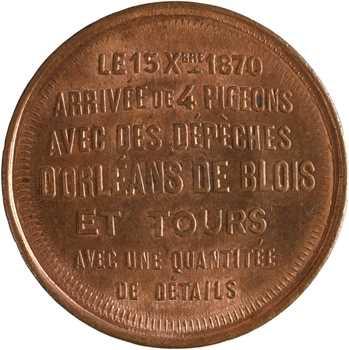 Gvt de Défense nationale, dix centimes arrivée de pigeons, 15 octobre 1870
