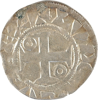 Louis VII, denier 1er type, Mantes
