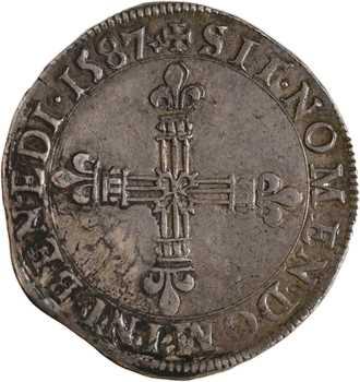 Henri III, quart d'écu écu de face, 1587 Poitiers