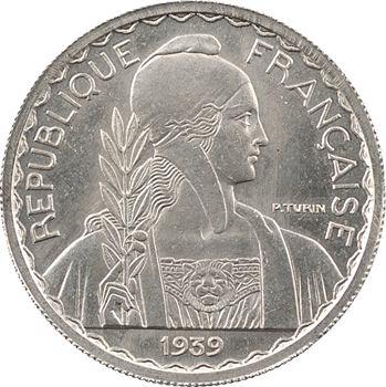 Indochine, essai de 20 centièmes magnétique, de poids lourd, tranche striée, 1939 Paris