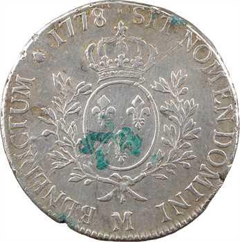 Louis XVI, écu aux branches d'olivier, 1778 Toulouse