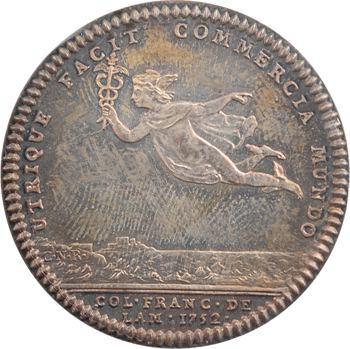 Amérique, Canada, Louis XV, jeton, Nantes – Port des Antilles, 1752 (refrappe) Paris