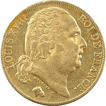 Louis XVIII, 20 francs buste nu, 1819 Paris